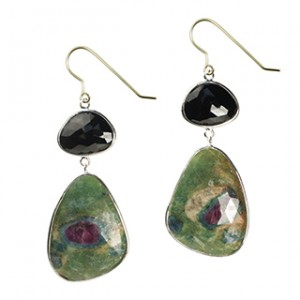 Talitha Earrings Black Spinel Ruby Zoisite Silver