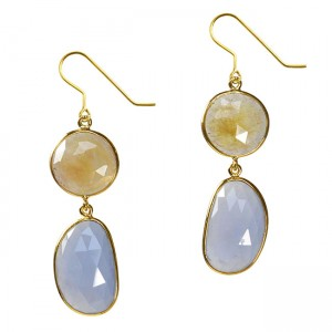 Talitha Earrings Honey Sapphire Chalcedony
