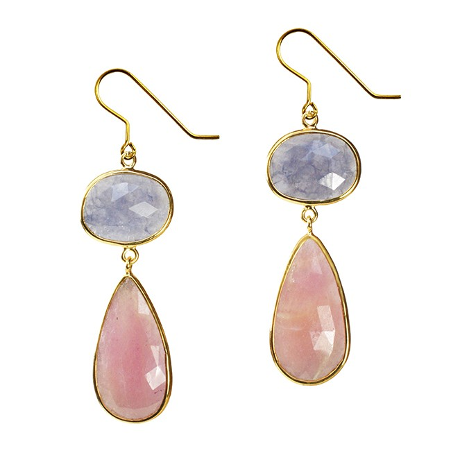 Talitha Earrings Iolite Pink Sapphire