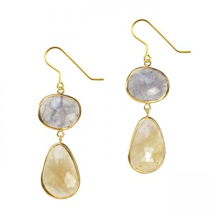 Talitha Earrings Iolite Yellow Sapphire