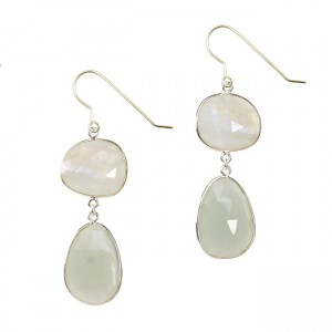 Talitha Earrings Moonstone Aquamarine Silver