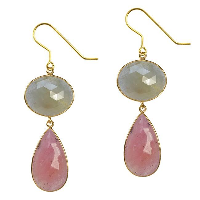 Talitha Earrings Moss Sapphire Pink Sapphire