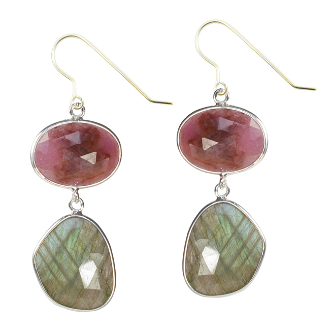 Talitha Earrings Ruby Labradorite Silver