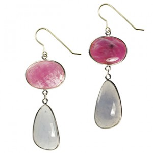 Talitha Earrings Ruby Natural Chalcedony Silver