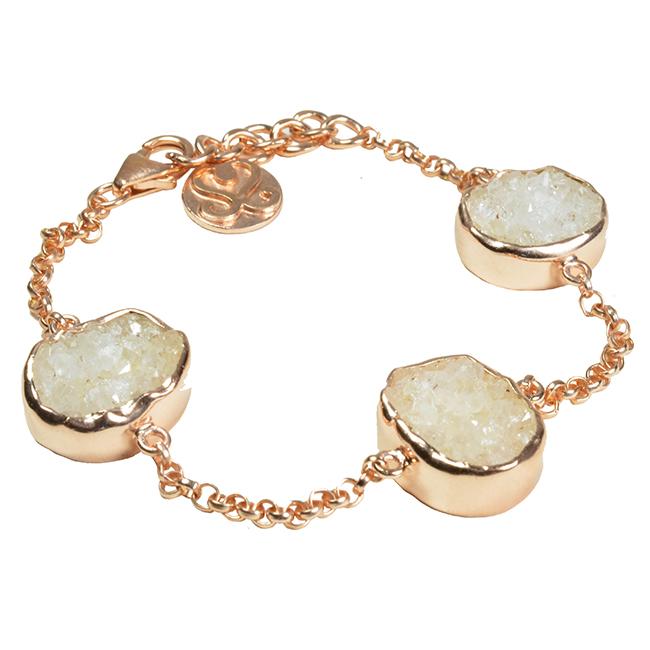 Tallulah Bracelet White Drusy Rose Gold