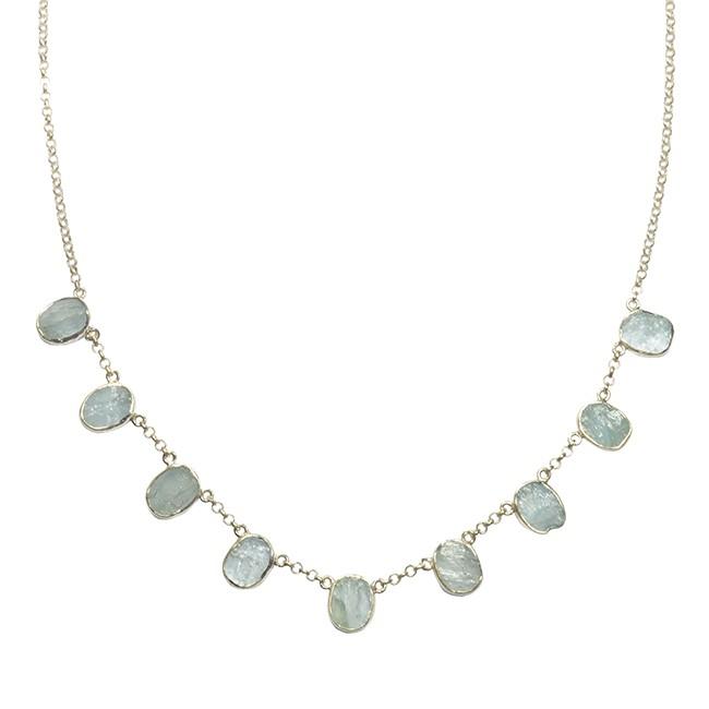 Tallulah Collar Silver Aquamarine