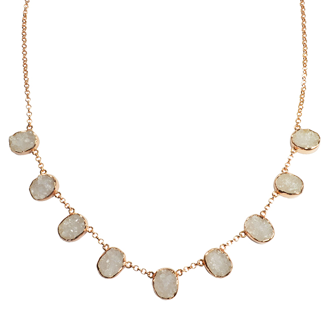 Tallulah Collar White Drusy Rose Gold
