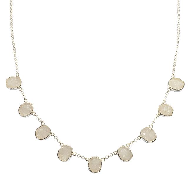Tallulah Collar Silver White Drusy