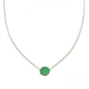 Tallulah Drop Necklace Chrysoprase Silver
