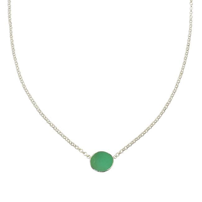 Tallulah Drop Necklace Chrysoprase Silver