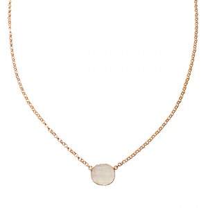 Tallulah Drop Necklace Moonstone Rose Gold