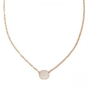 Tallulah Drop Necklace Moonstone Rose Gold
