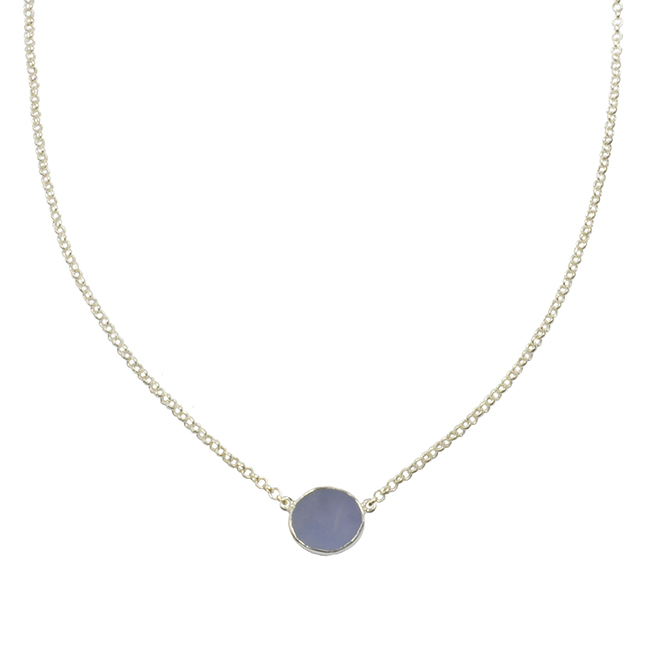 Tallulah Drop Necklace Natural Chalcedony Silver