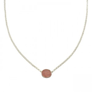 Tallulah Drop Necklace Pink Opal Silver