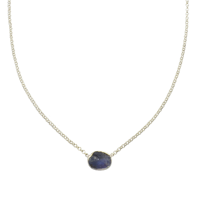 Tallulah Drop Necklace Tanzanite Silver