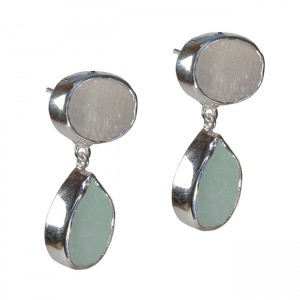 Tallulah Earrings Moonstone Aquamarine Silver