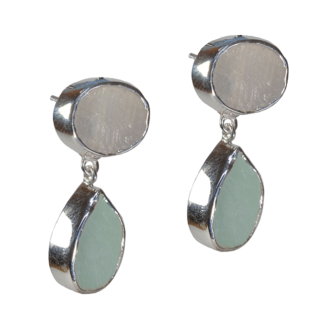 Tallulah Earrings Moonstone Aquamarine Silver