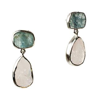 Tallulah Earrings Morganite Aquamarine Silver