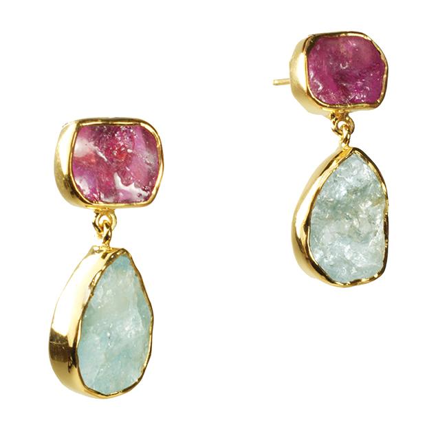Tallulah Earrings Ruby Aquamarine