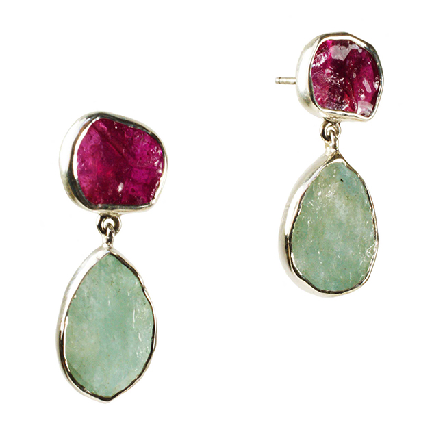 Tallulah Earrings Silver Ruby Aquamarine