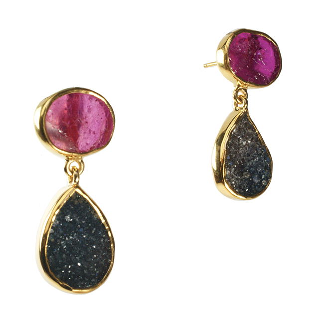 Tallulah Earrings Ruby Black Drusy