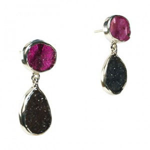 Tallulah Earrings Ruby Black Drusy Silver