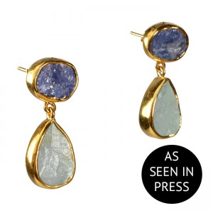 Tallulah Earrings Tanzanite Aquamarine