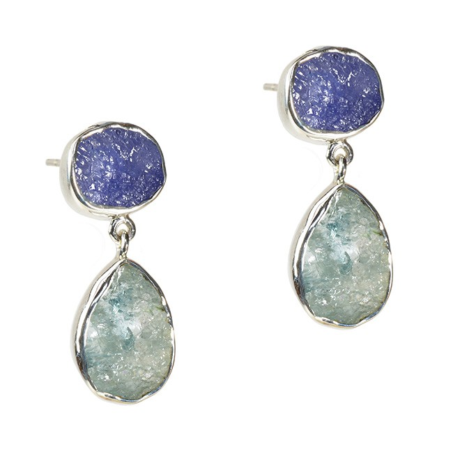 Tallulah Earrings Tanzanite Aquamarine Silver