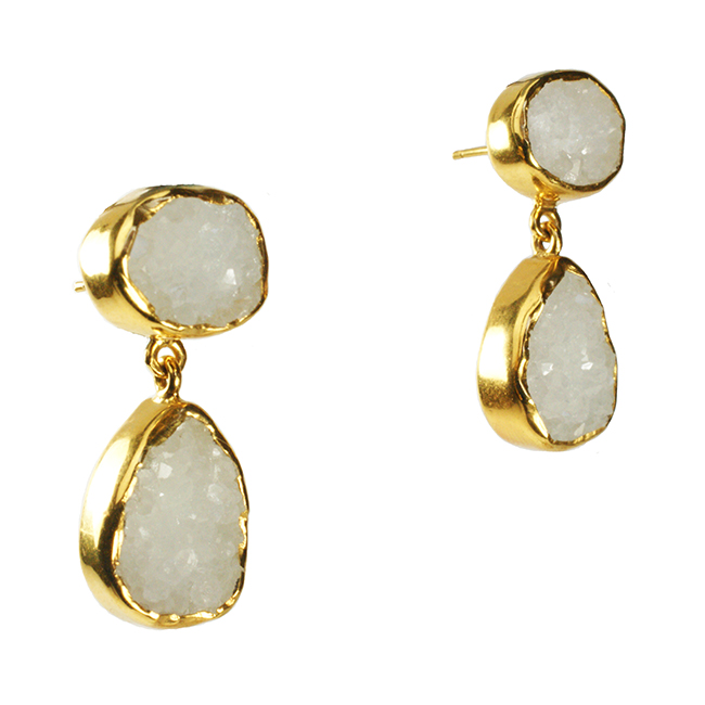 Tallulah Earrings White Drusy