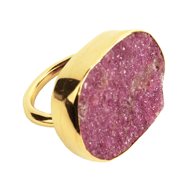 Tallulah Cocktail Ring Natural Pink Drusy