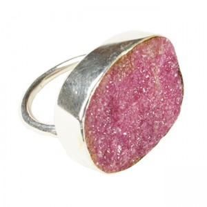 Tallulah Cocktail Ring Silver Natural Pink Drusy