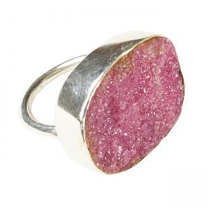 Tallulah Cocktail Ring Silver Natural Pink Drusy