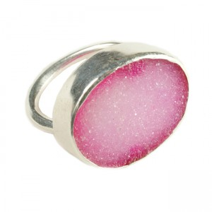 Tallulah Cocktail Ring Silver Pink Drusy