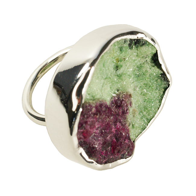 Tallulah Cocktail Ring Ruby Zoisite Silver