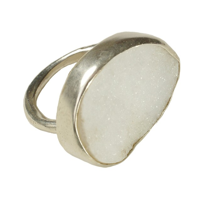 Tallulah Cocktail Ring Silver White Drusy