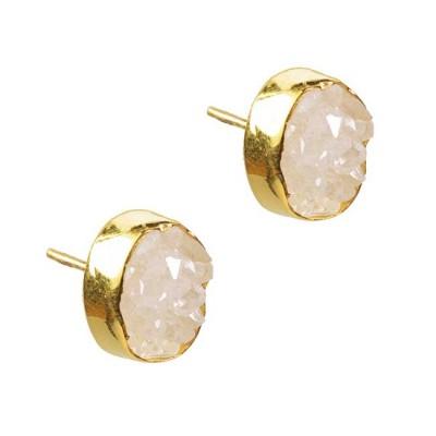Tallulah Stud Earrings White Drusy