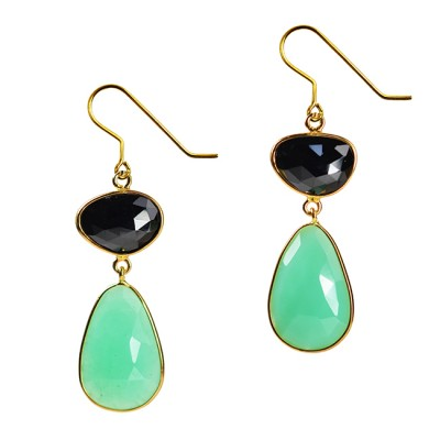 Talitha Earrings Black Spinel Chrysoprase