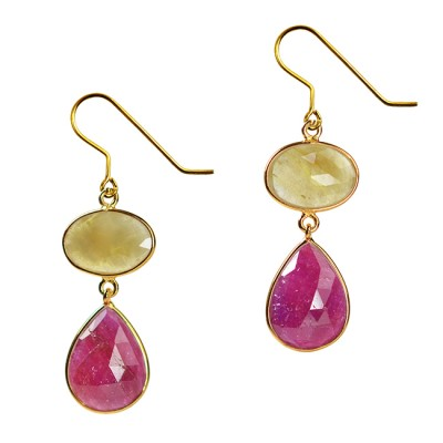 Talitha Earrings Honey Sapphire Ruby