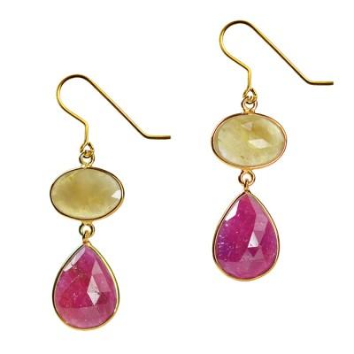 Talitha Earrings Honey Sapphire Ruby