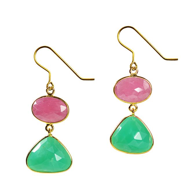 Talitha Earrings Pink Sapphire Chrysopase
