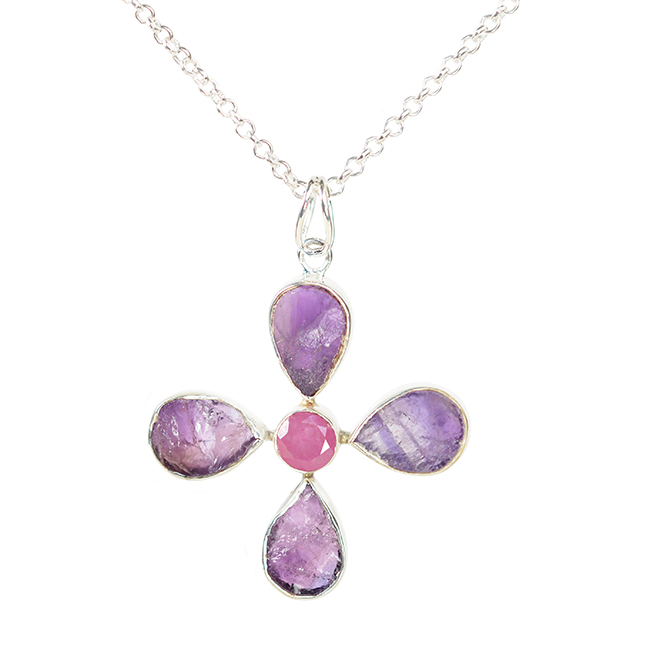 Tallulah Flower Pendant Amethyst Pink Sapphire