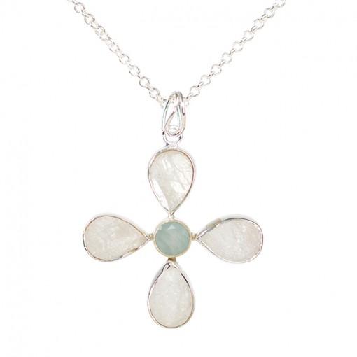 Tallulah Flower Pendant Moonstone Aquamarine