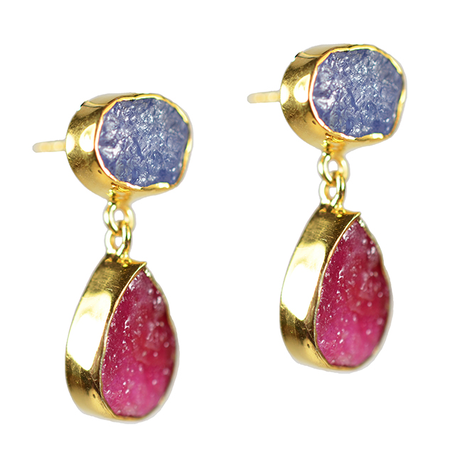 Tallulah Earrings Ruby Tanzanite