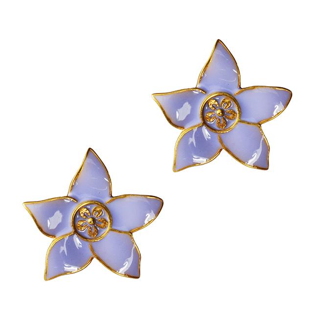 Eloise Gold Stud Flower Earrings Mauve