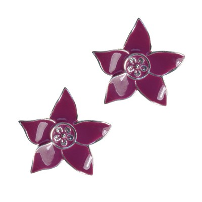Eloise Silver Flower Stud Earrings Magenta