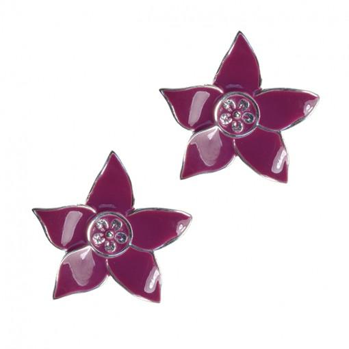 Eloise Silver Flower Stud Earrings Magenta