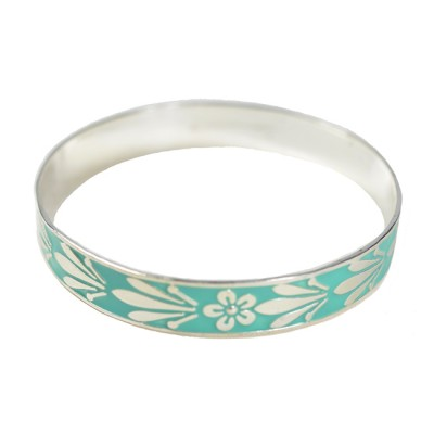 Joy Enamel Bangle Soft Turquoise Silver