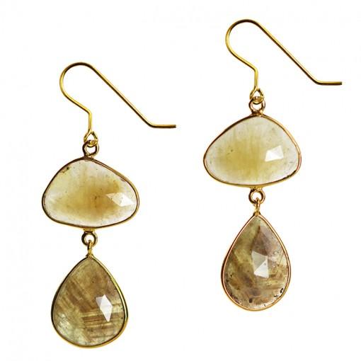 Talitha Earrings Honey Sapphire Moss Sapphire