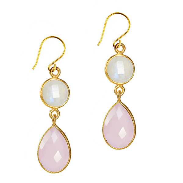 Belinda Bel Earrings Moonstone Pink Chalcedony