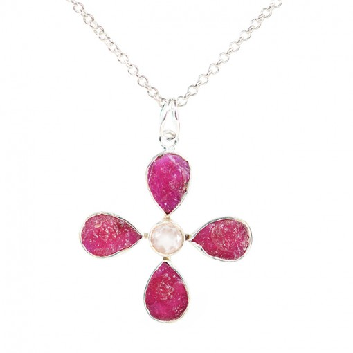 Tallulah Flower Pendant Ruby Rose Quartz Silver